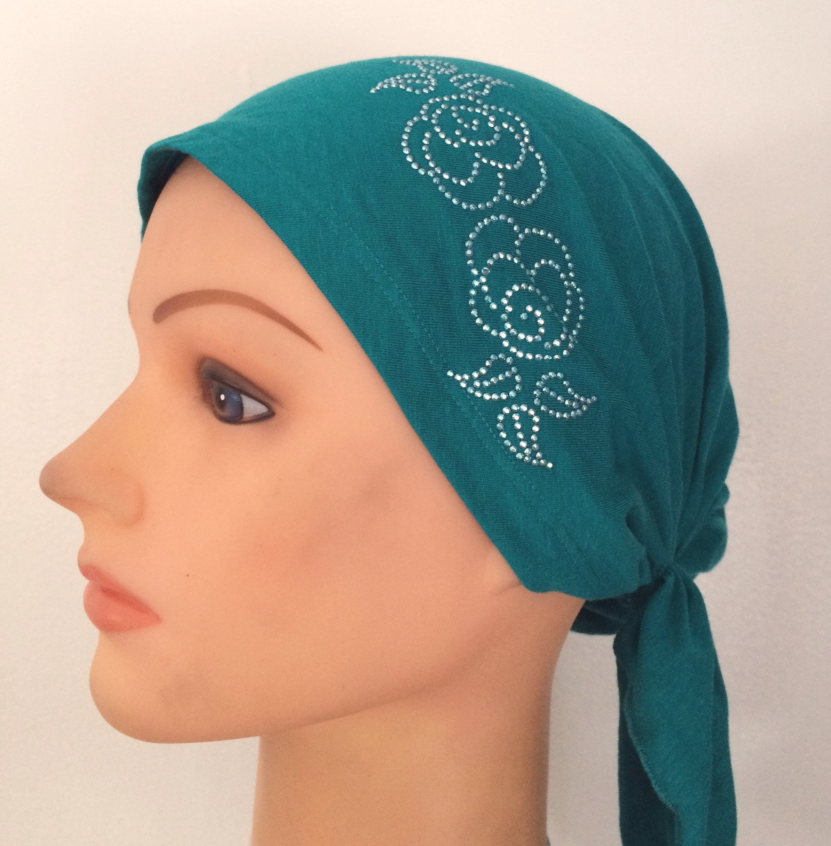 Teal green pretied tichel with applique