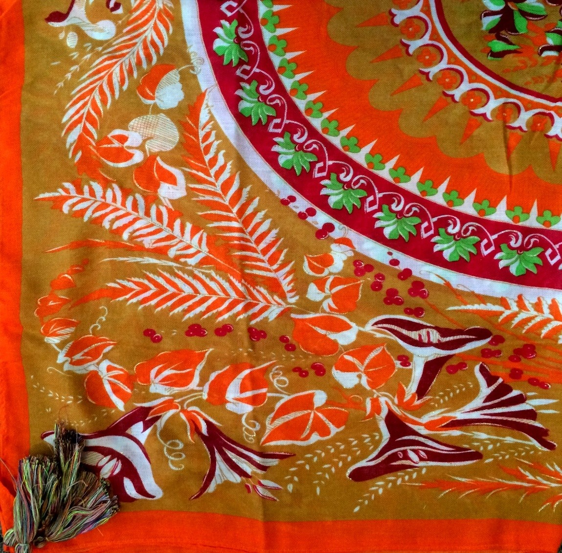 Orange creamsicle soft tichel with floral pattern