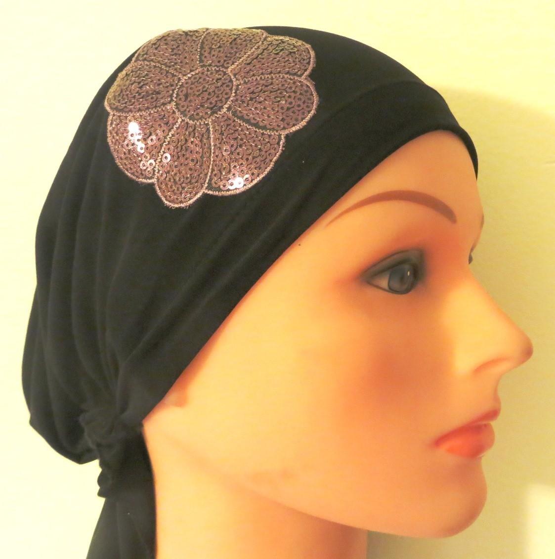 Black dressy pretied tichel/bandana with lavender applique