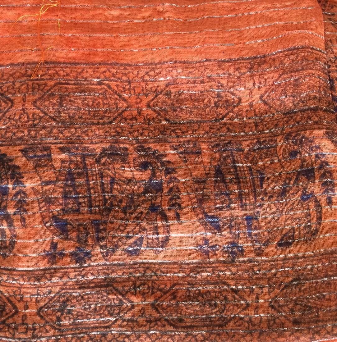 Bright orange patterned lurex tichel