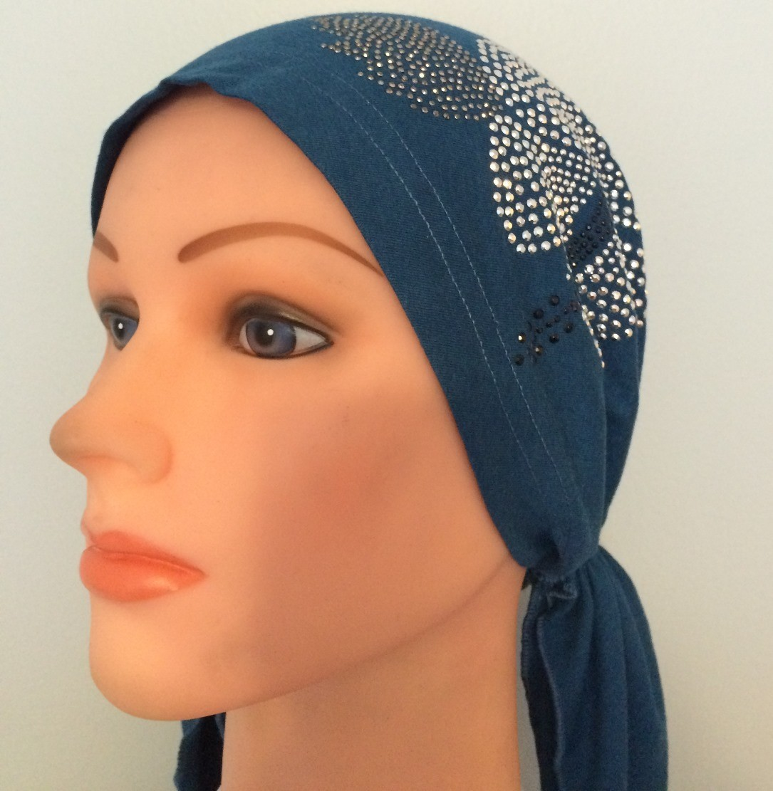 Teal pre tied tichel with applique