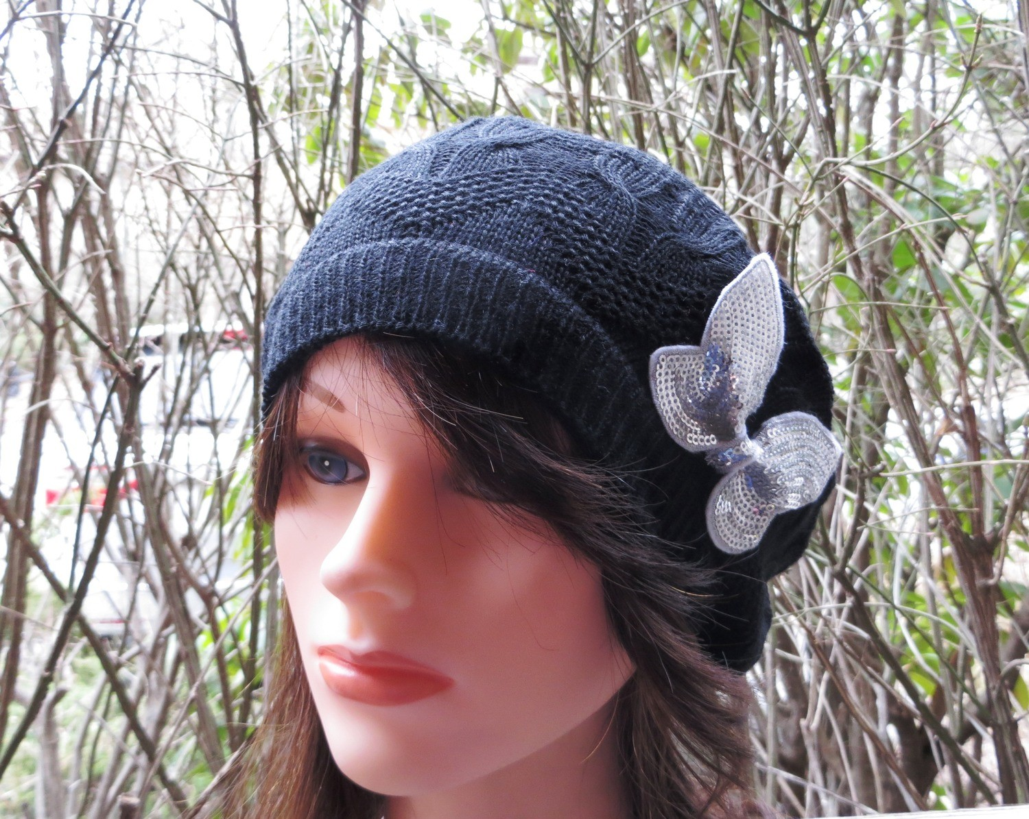 Black butterfly summer style beret