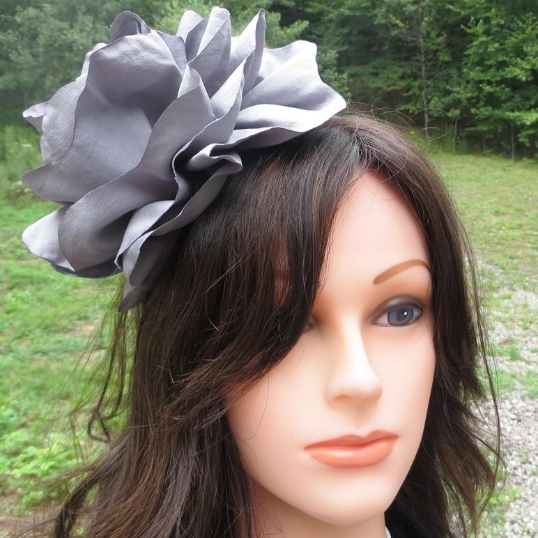 Gray extra large flower headband