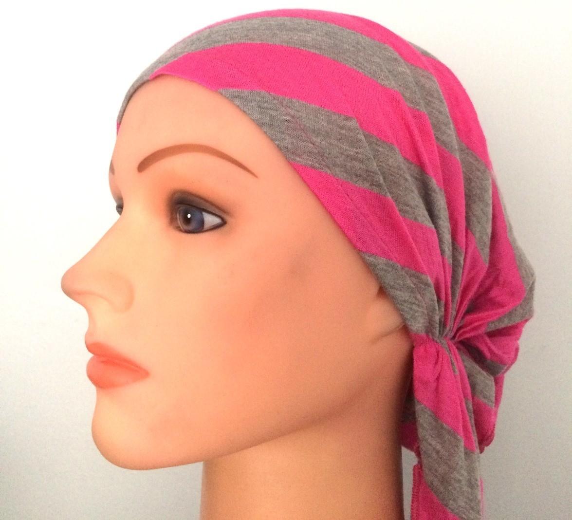 Pink & gray pre-tied tichel