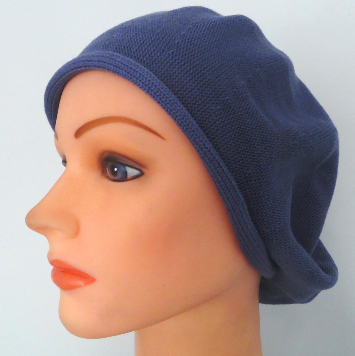 Denim blue cotton beret