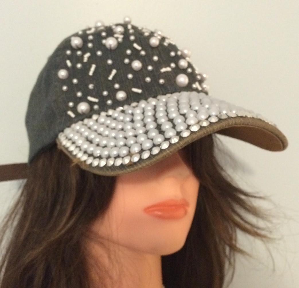 Denim with sequins bejeweled cap
