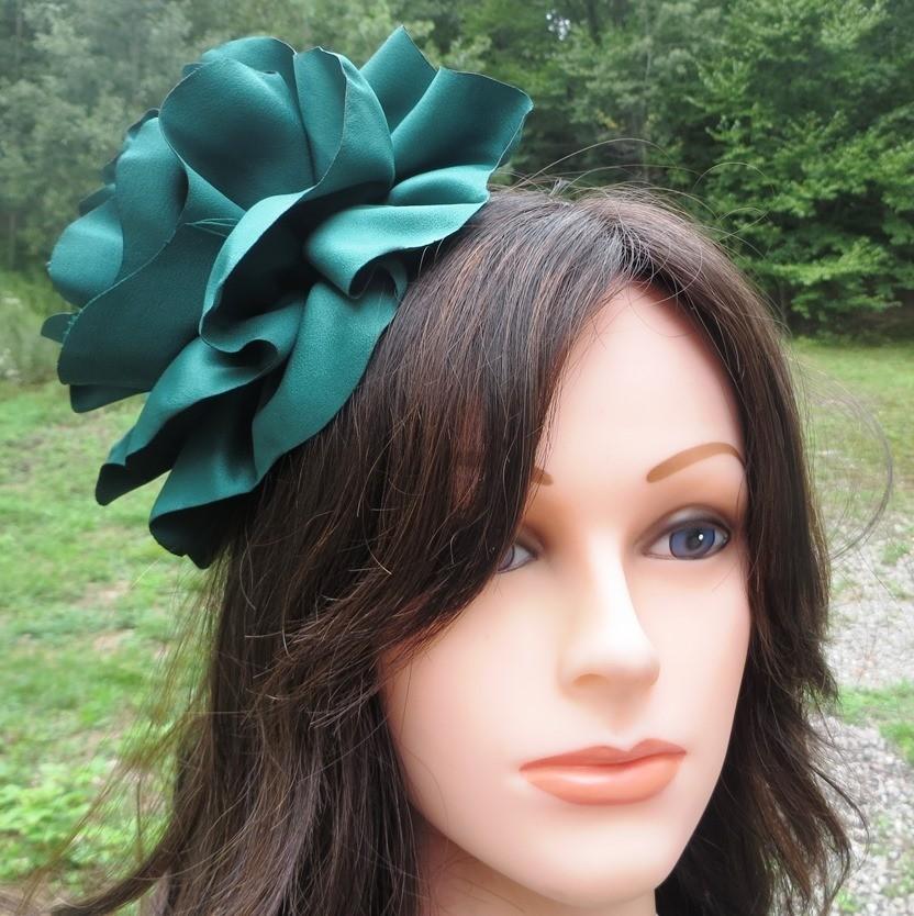 Hunter green extra large flower headband