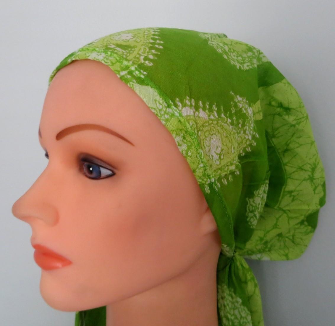 Green pretied tichel headcovering