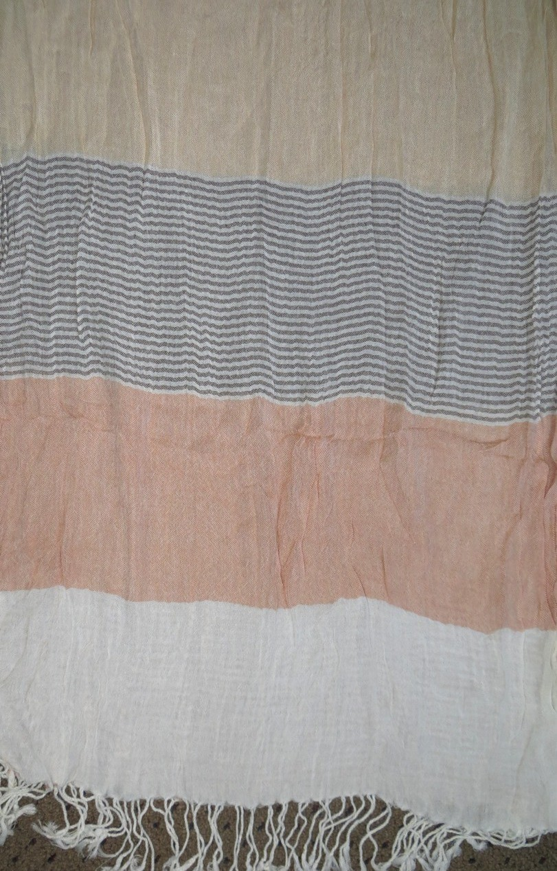 Peach 'n' cream and brown thick stripes rectangle tichel