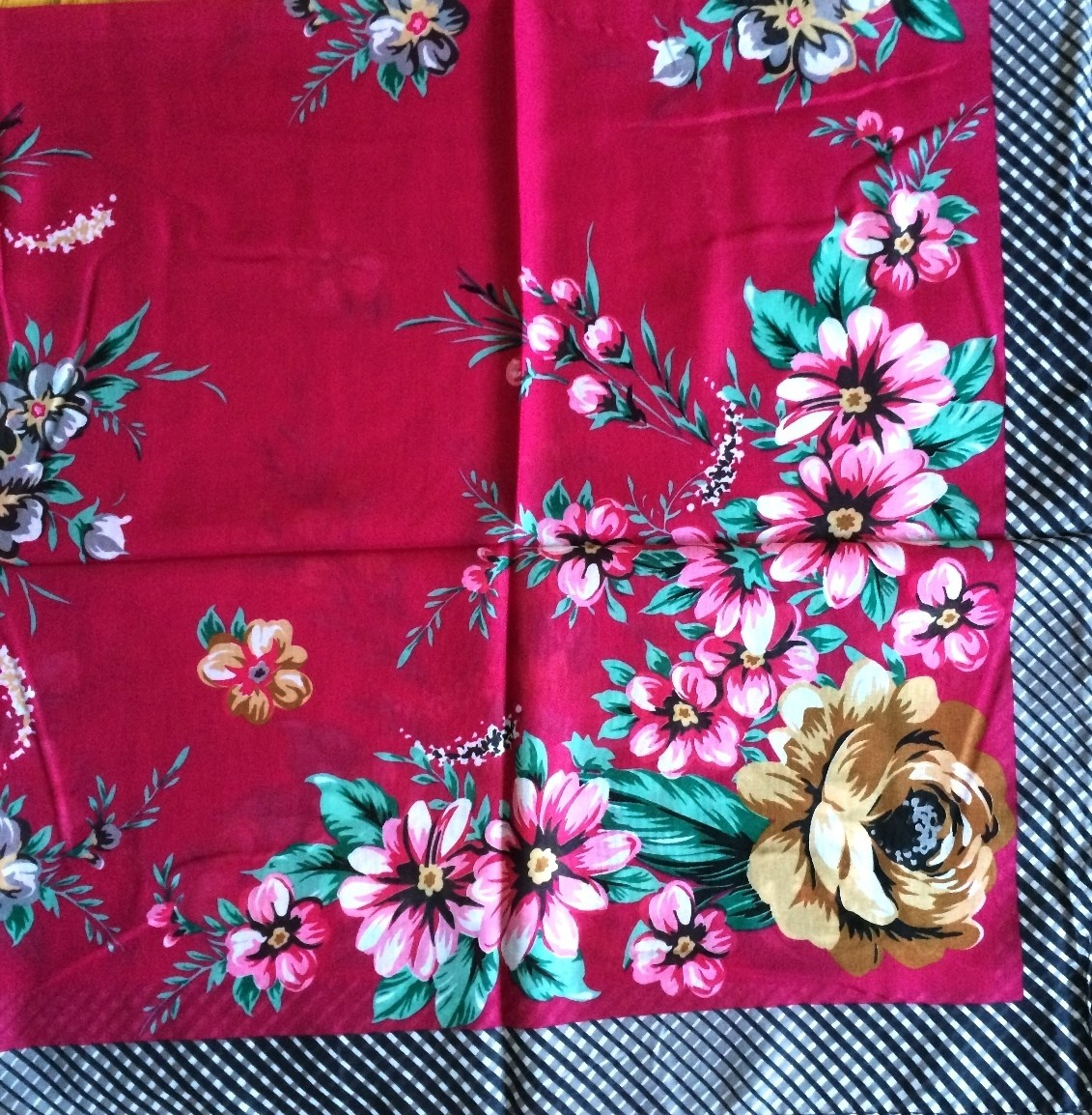 Wine color floral pretty Turkish headscarve