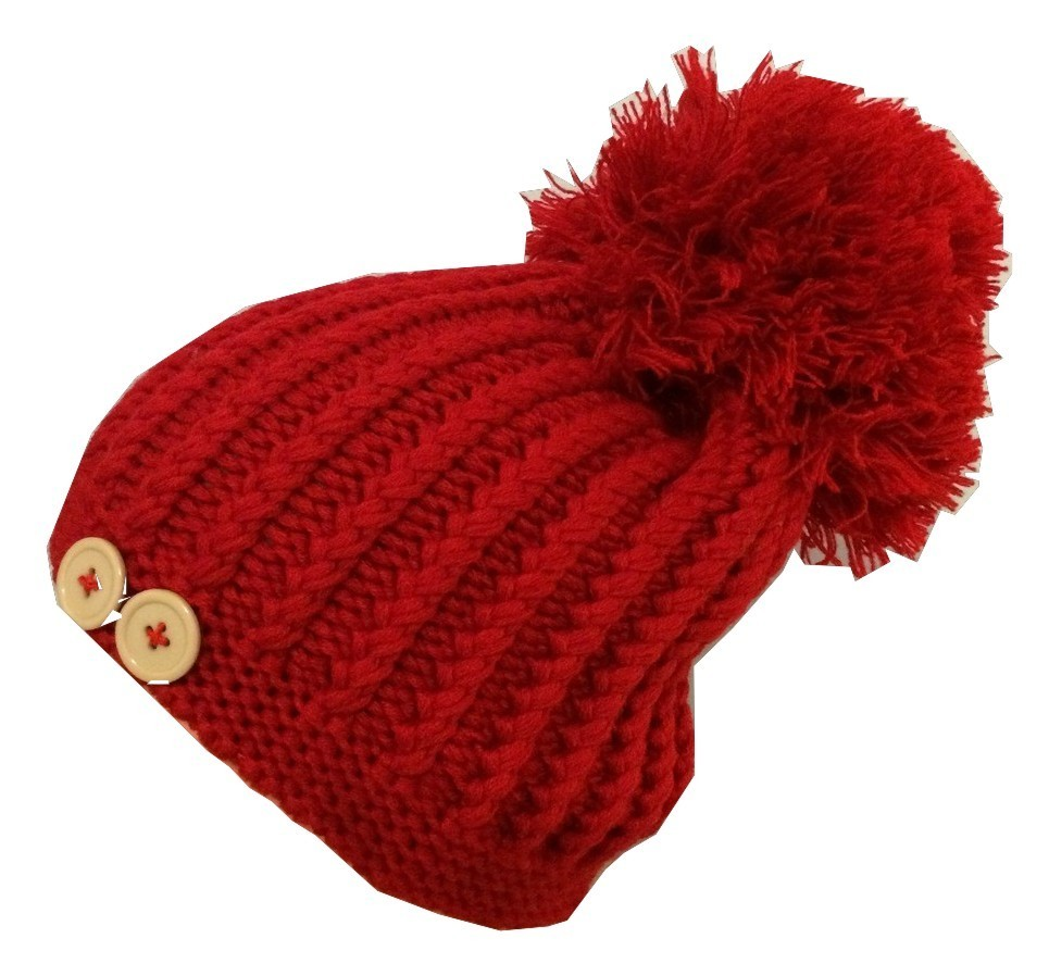 Red beret with extra large pom pom