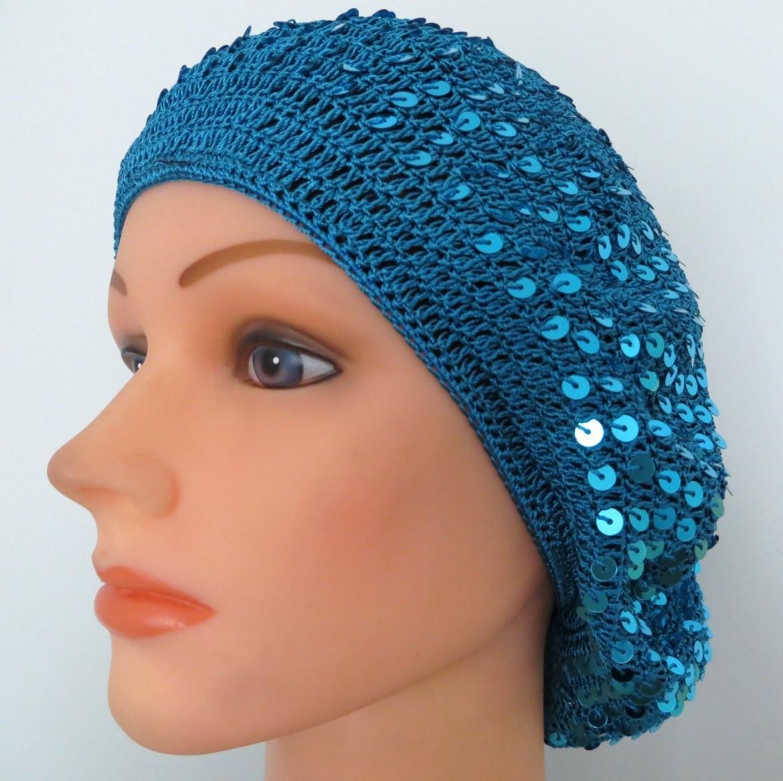 Sequin snood aqua blue