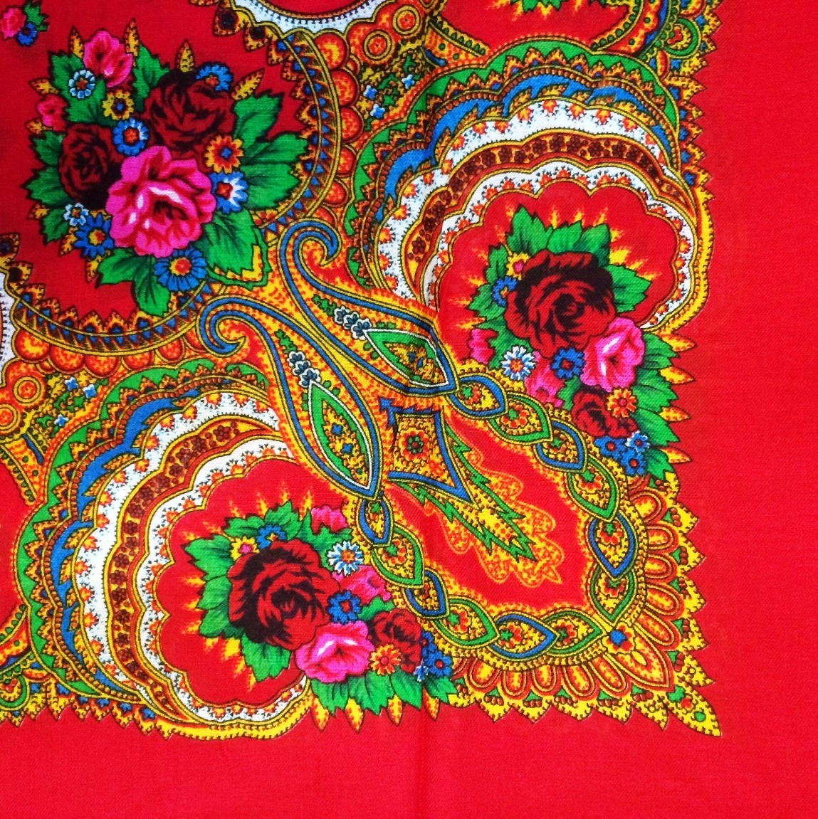 Bright red vintage tichel with paisley pattern