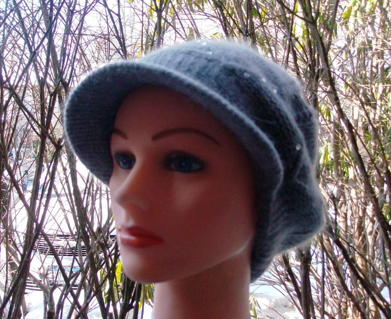 Gray studded long cap