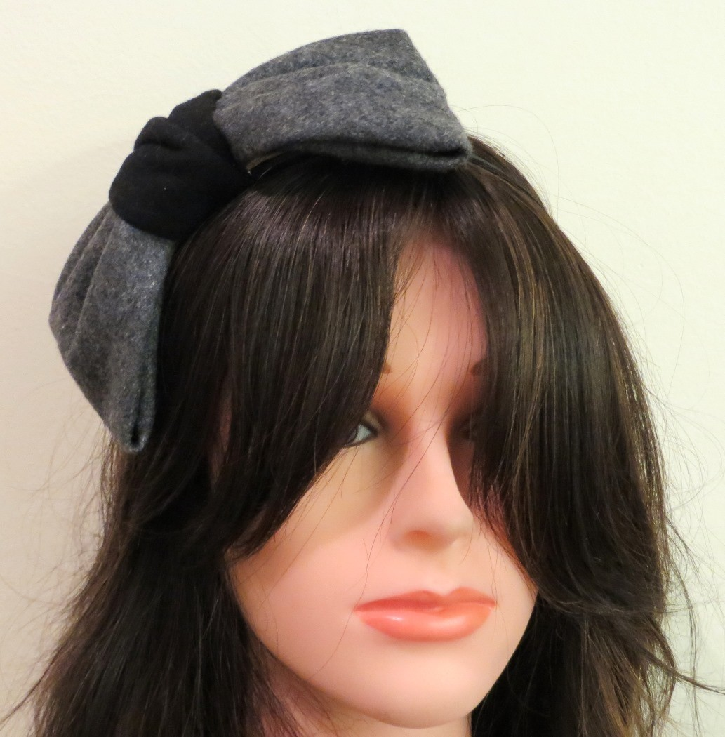 Gray felt large bow headband