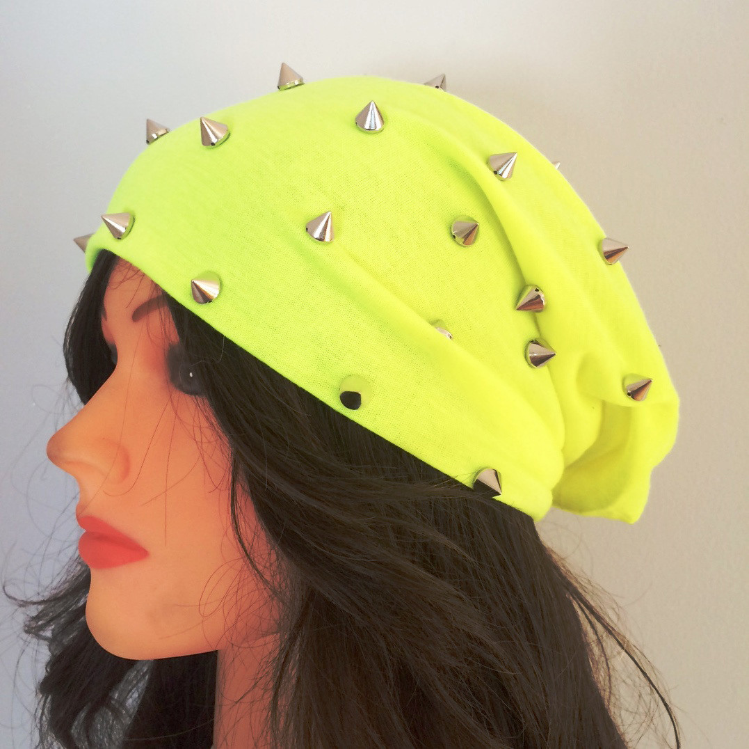 Yellow summer spiky beanie