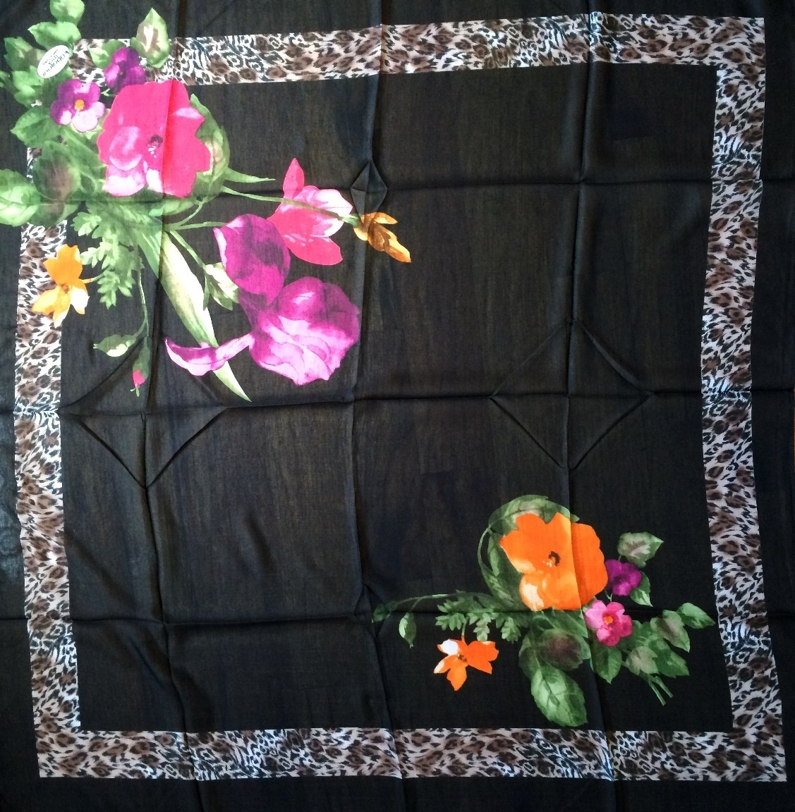 Black with large flowers pretty Turkish headscarve