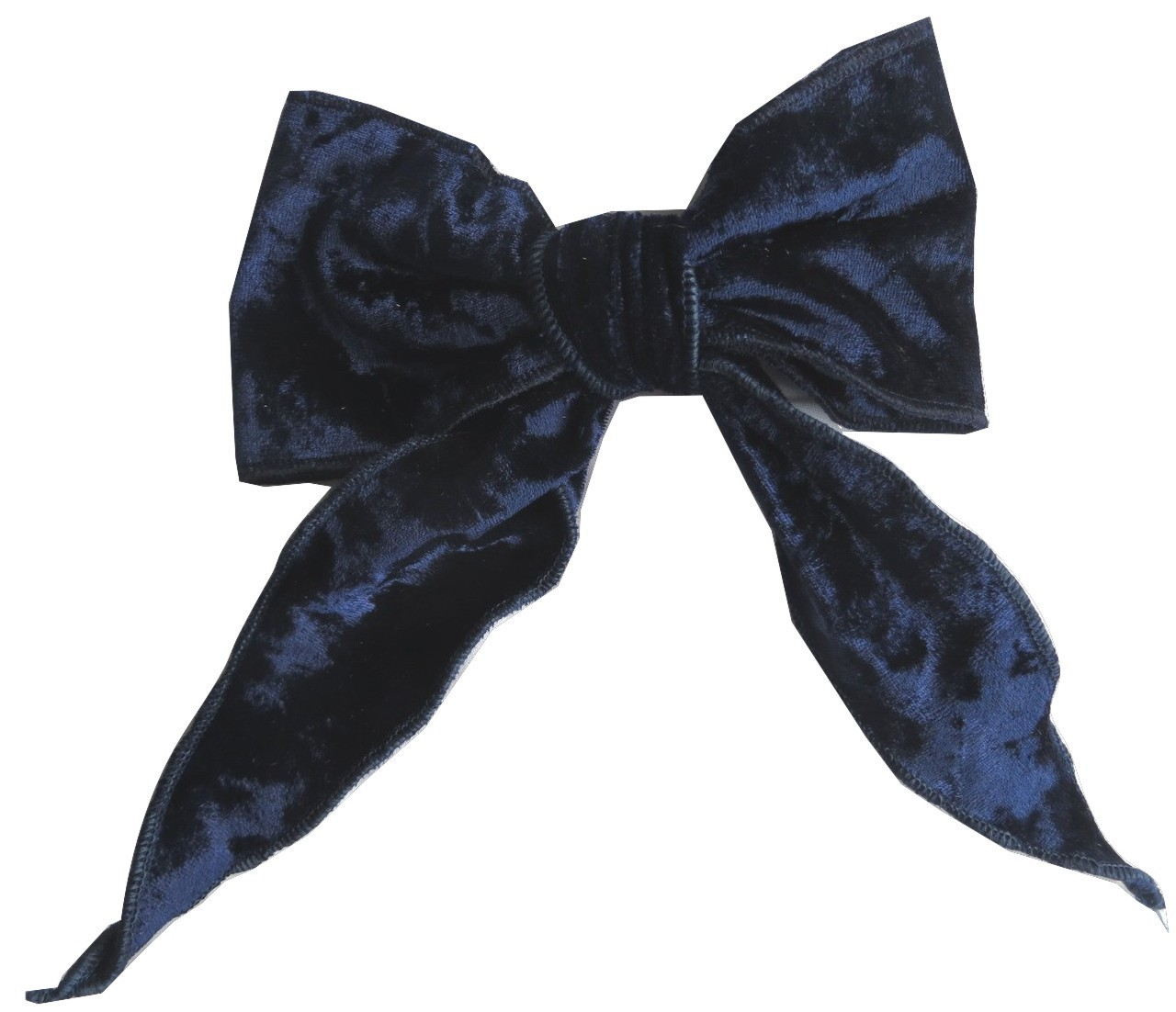 Navy velvet bow with tails