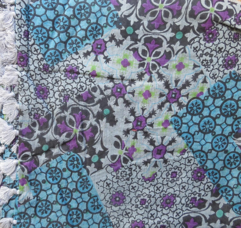 Blue gray purple extra fancy tichel