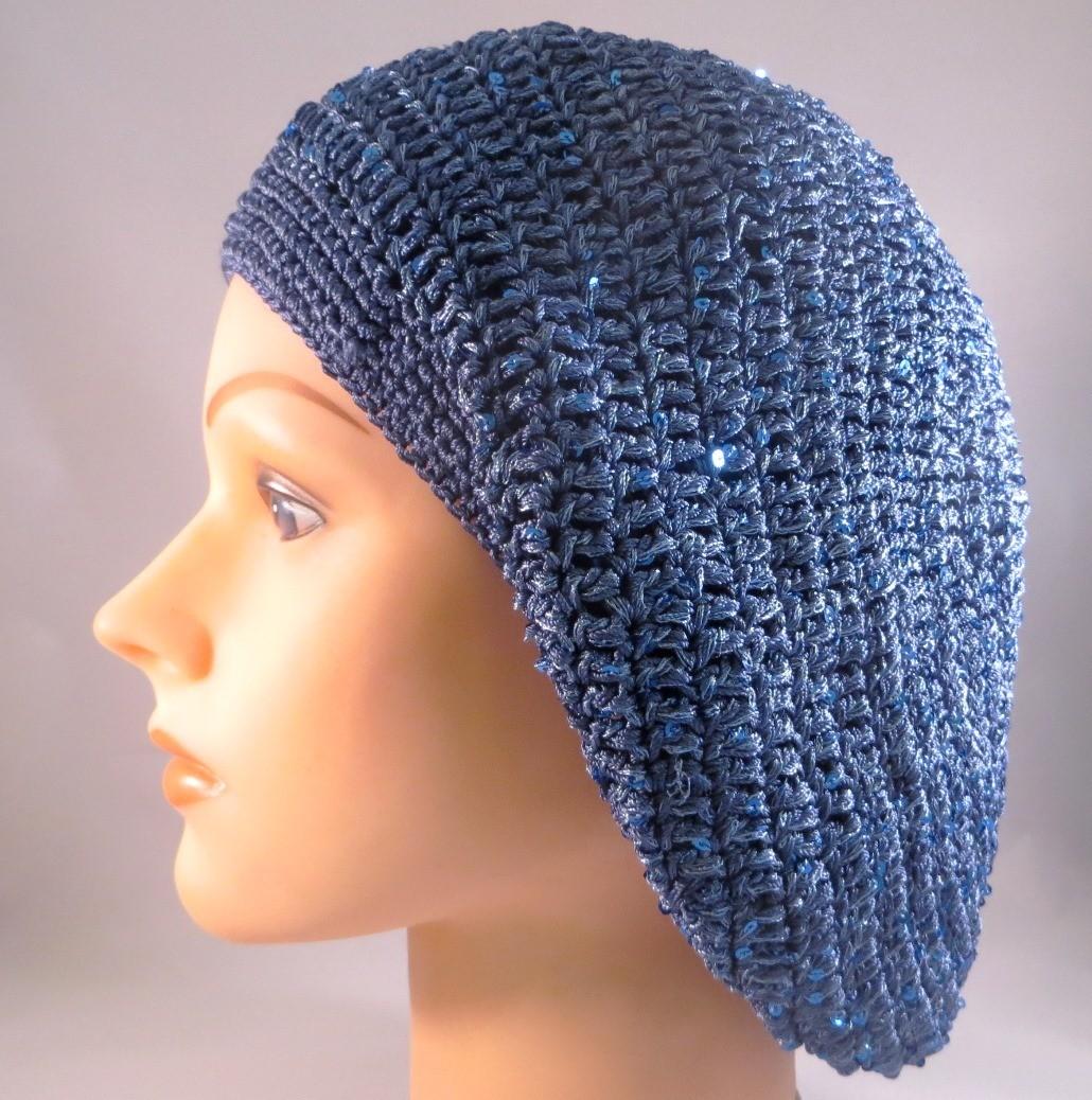 Denim blue mini sequins snood
