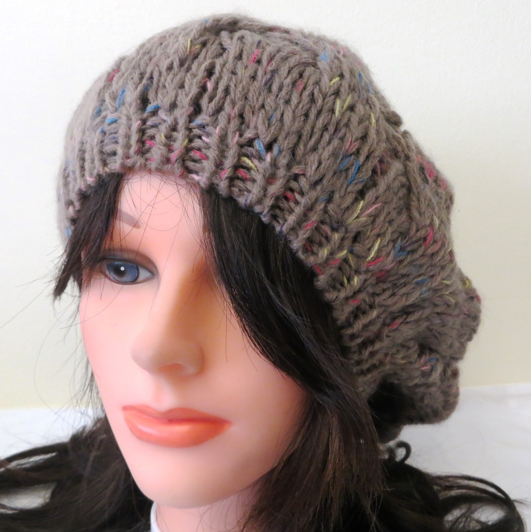 Beige beanie with colorful threads