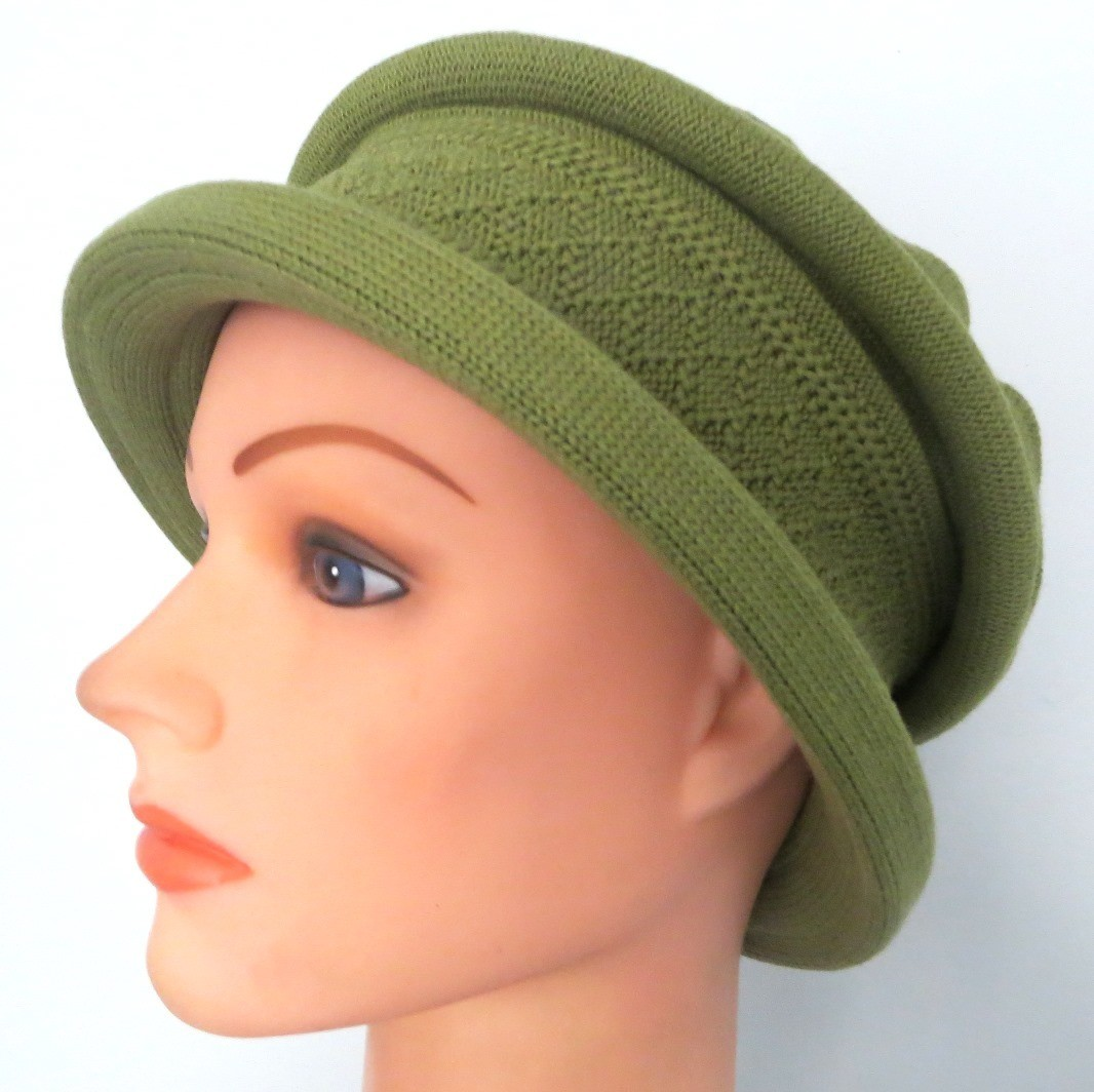 Avocado green cotton beret hat