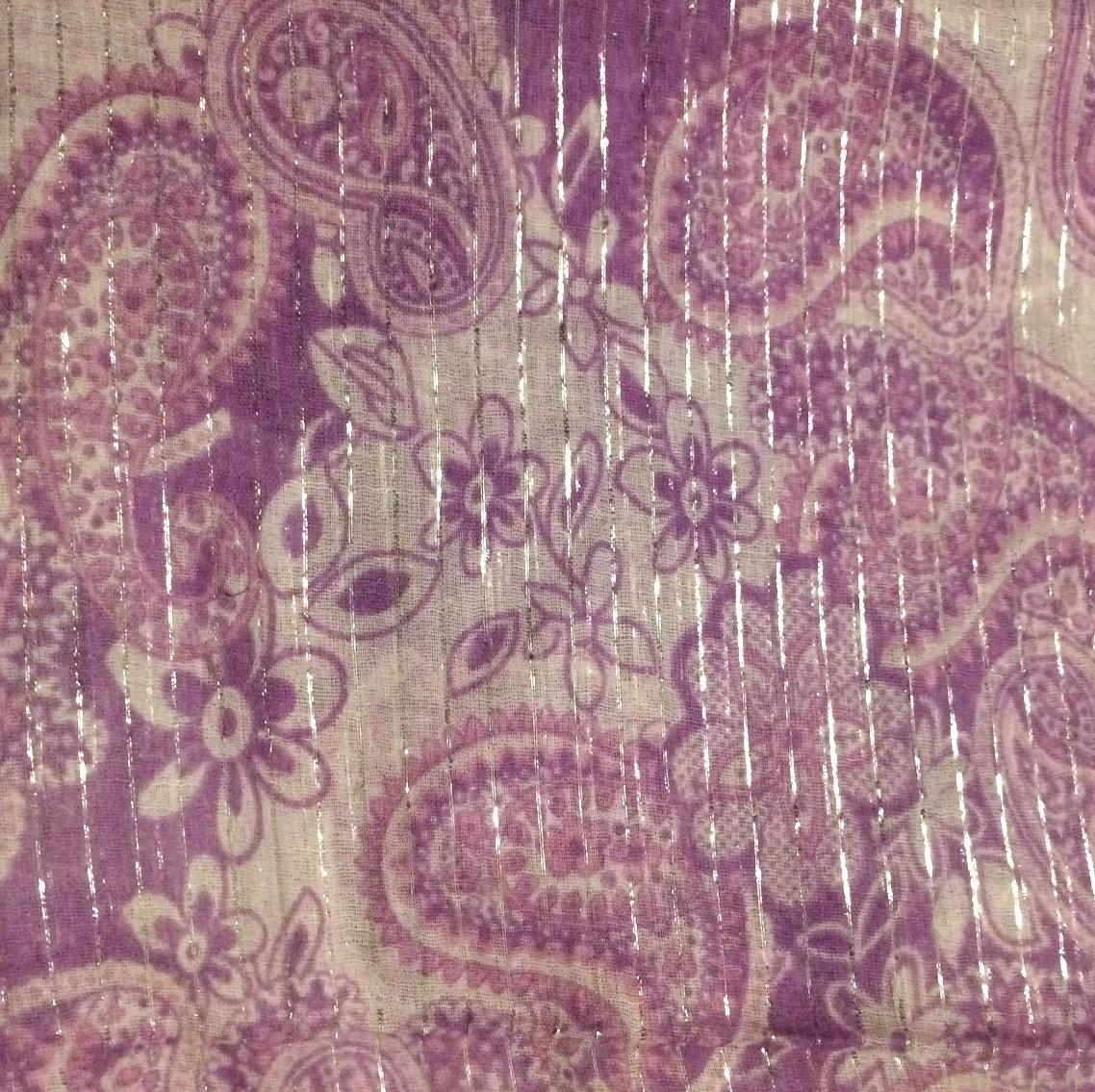 Lavender lg flowers & paisley lurex tichel