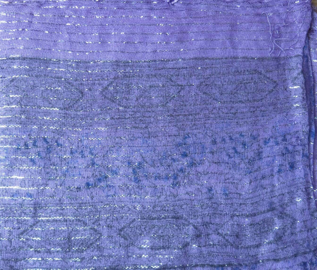Lavender lurex tichel with blue berry flowers