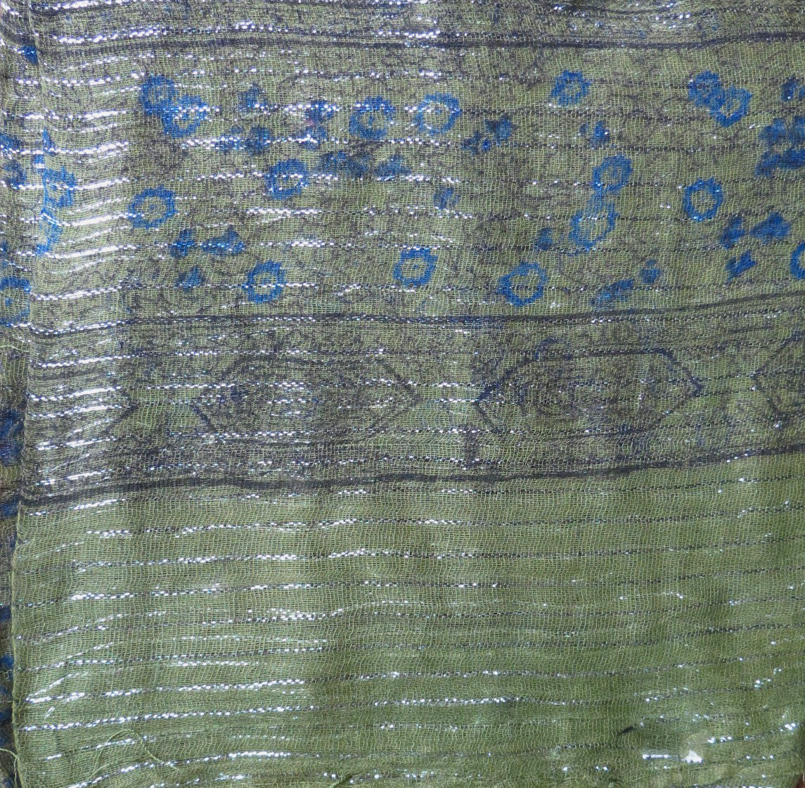 Olive green lurex tichel with blue berry flowers