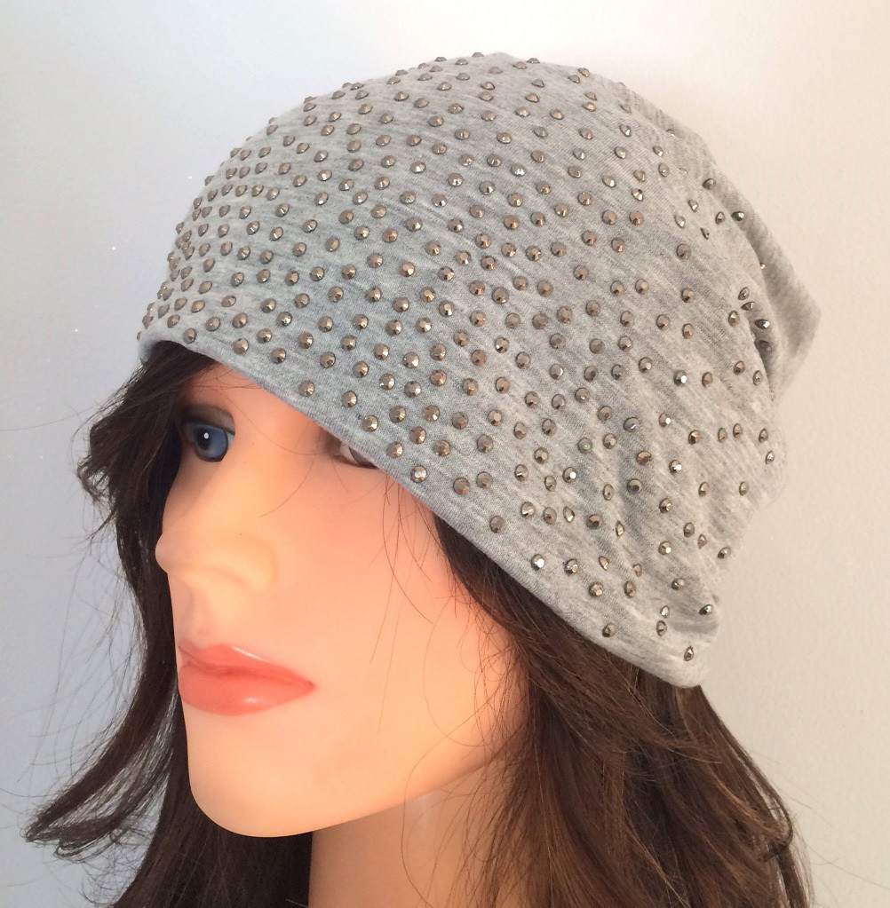 Light gray summer sparkle beanie