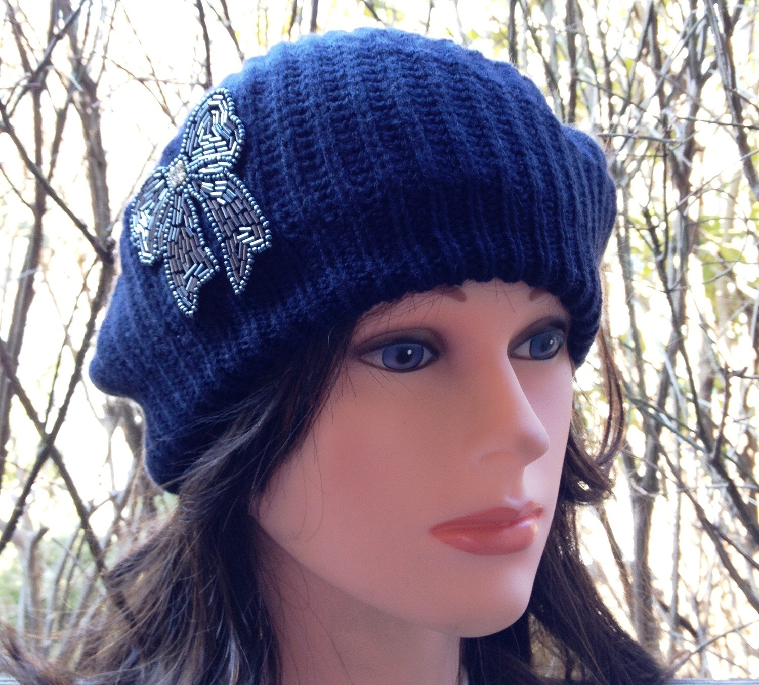 Chic beret double layer navy