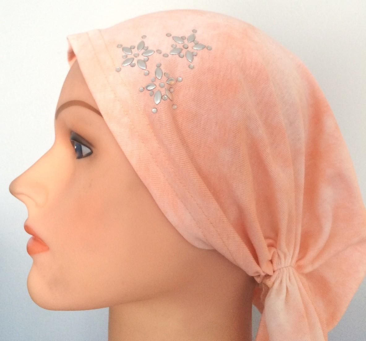 Light peachy pink pre-tied tichel