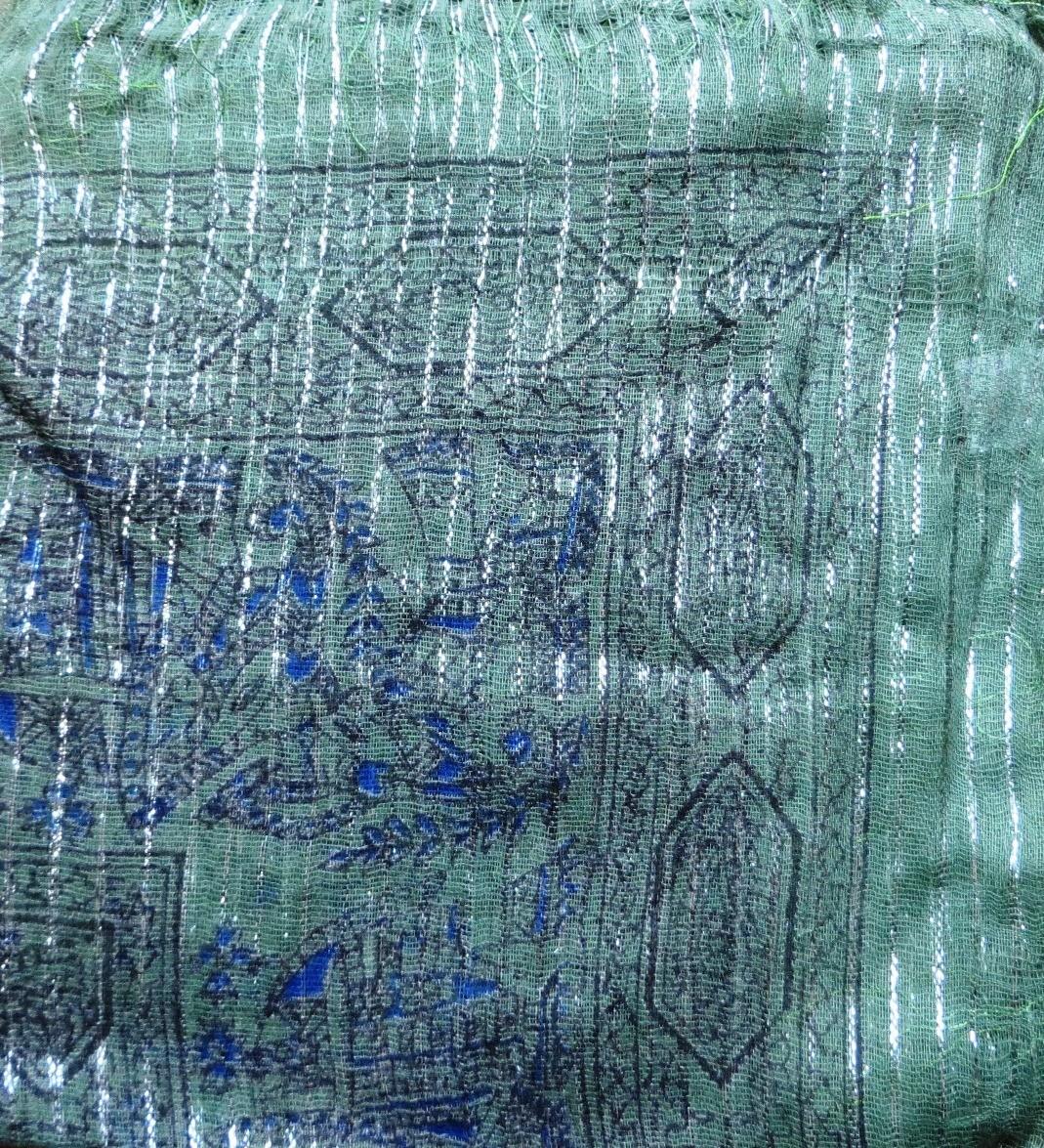 Army green patterned lurex tichel