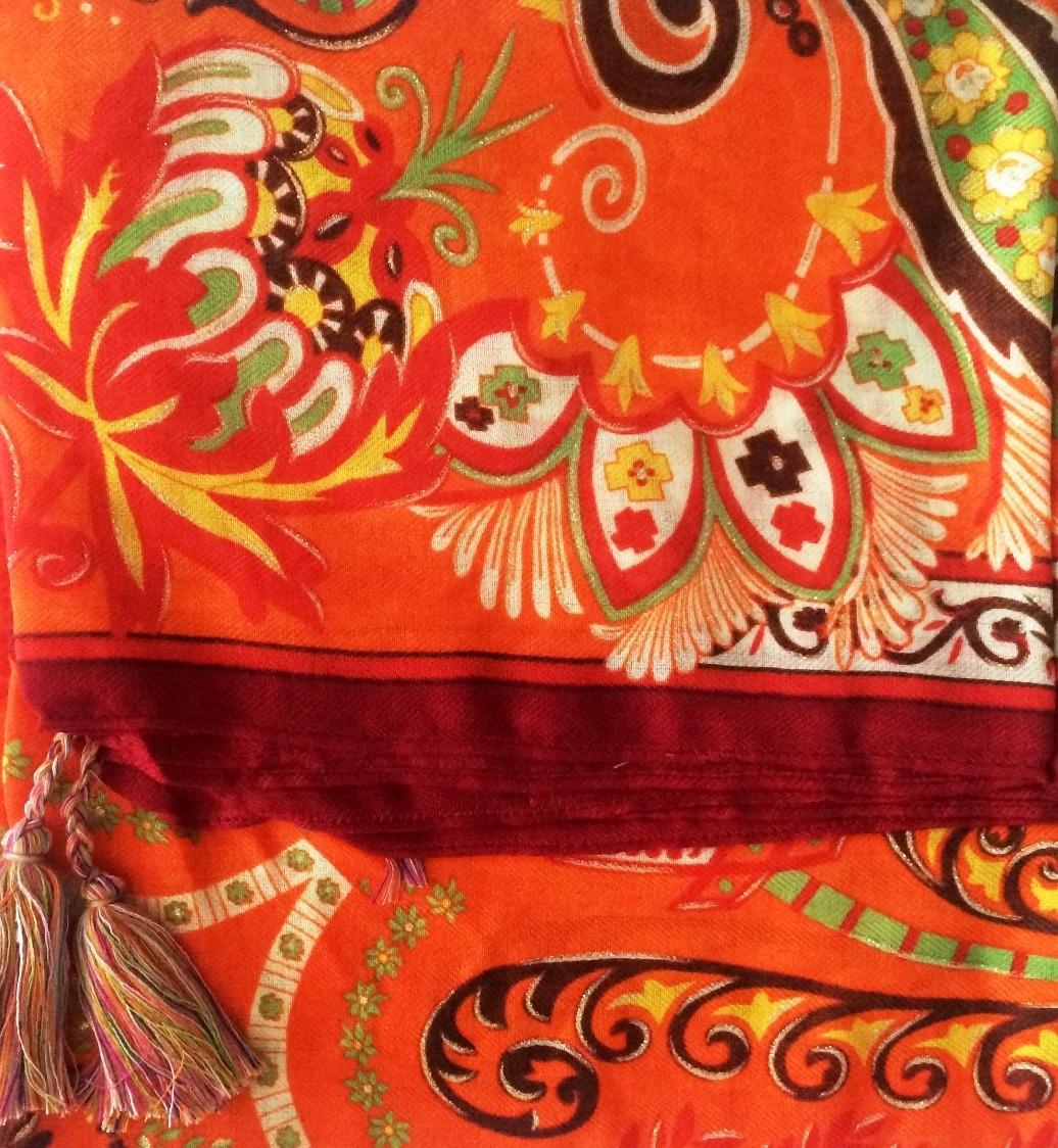 Orange soft tichel with Oriental flavor