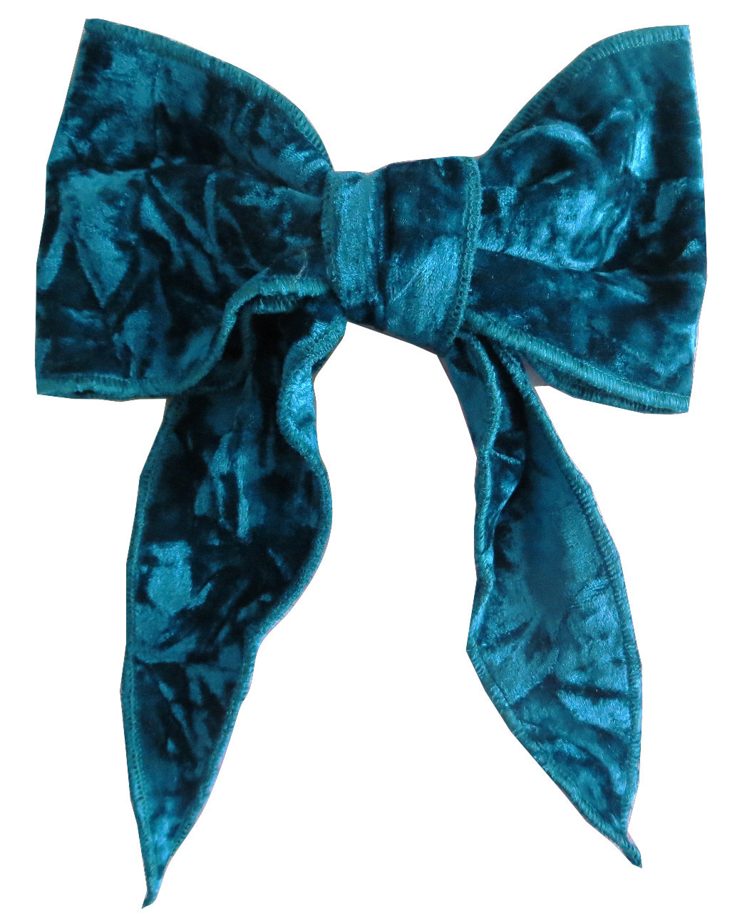 Teal blue velvet bow with tails