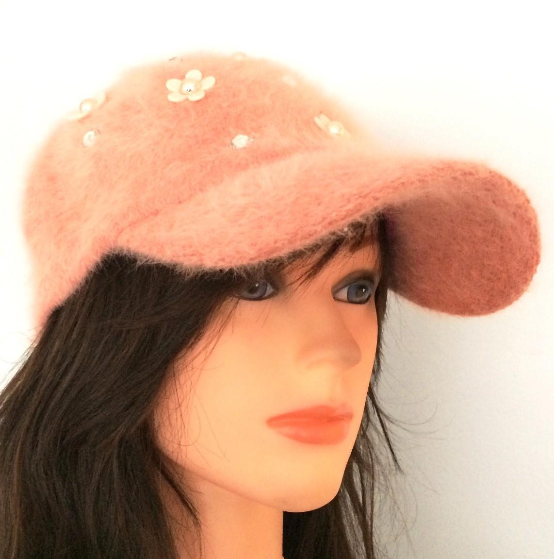 Peachy pink furry bejeweled cap