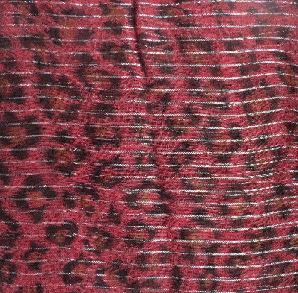 Dark raspberry animal print tichel