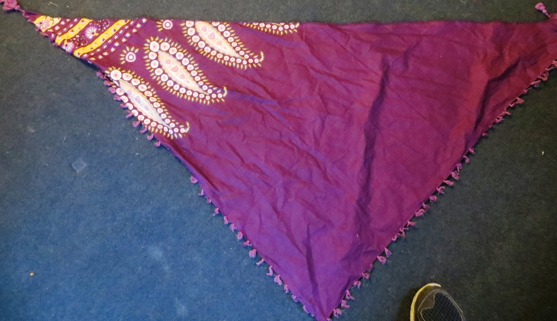 Purple split tichel bandana