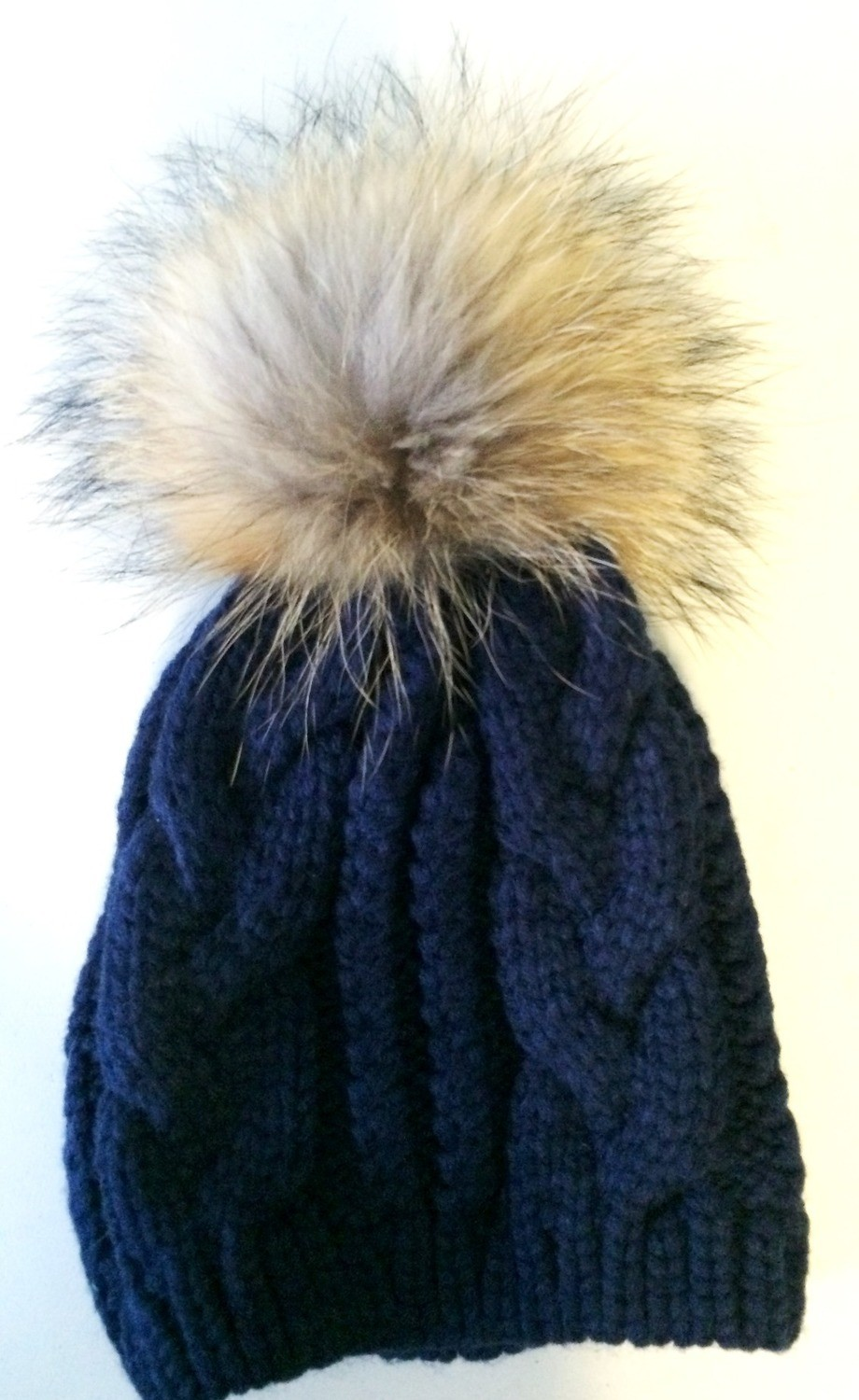 Navy cable knit fur pom pom hat