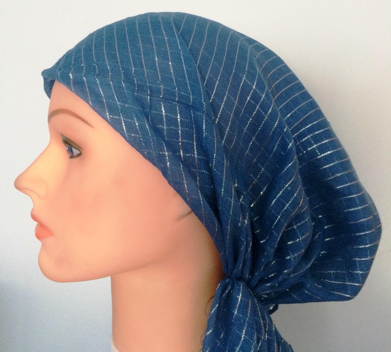 Denim blue lurex pre tied tichel