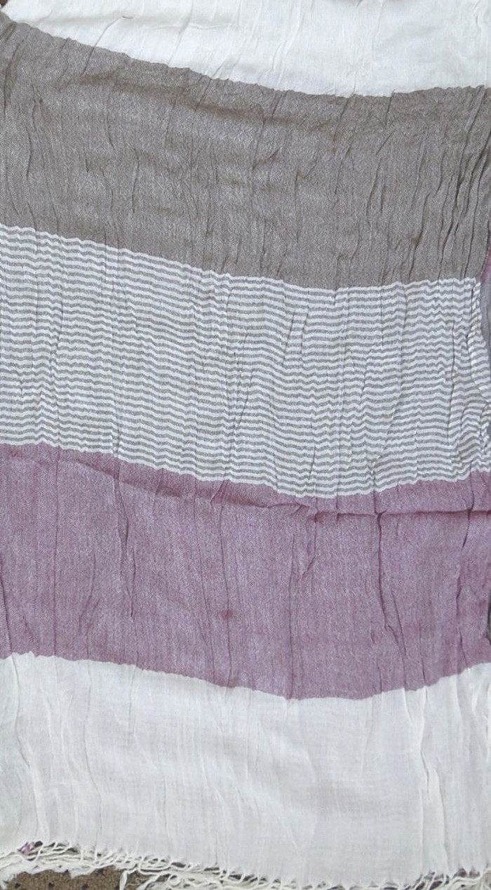 Lavender and brown thick stripes rectangle tichel