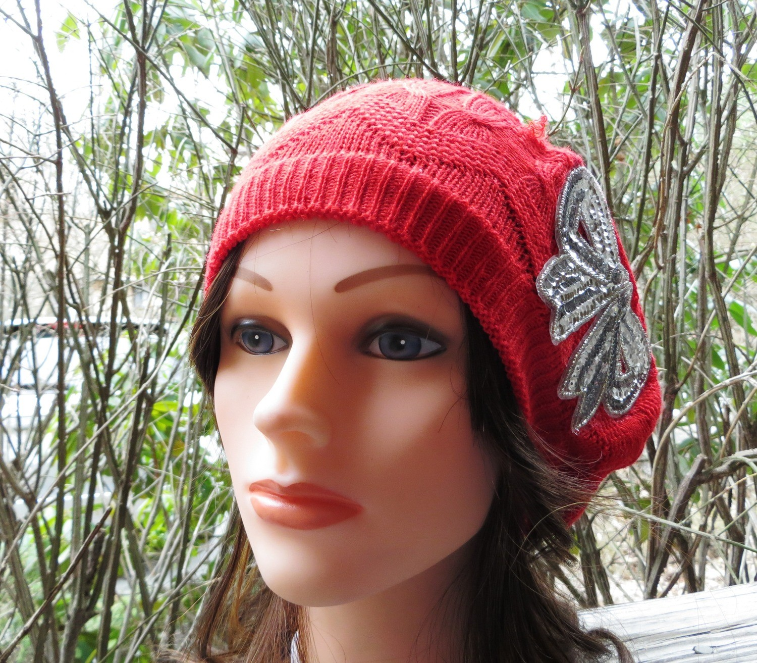 Red summer style beret