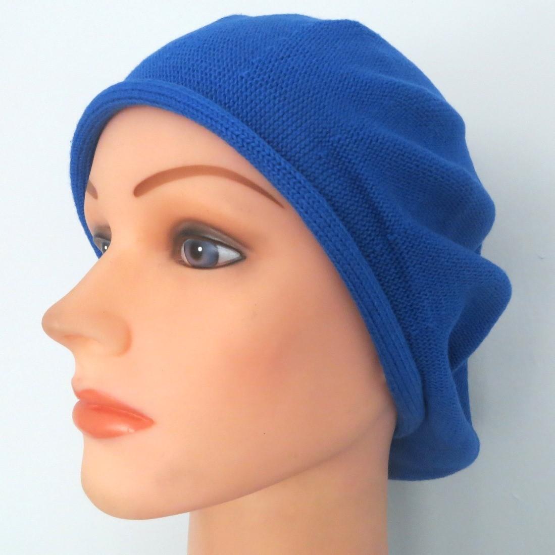 Azure blue cotton beret