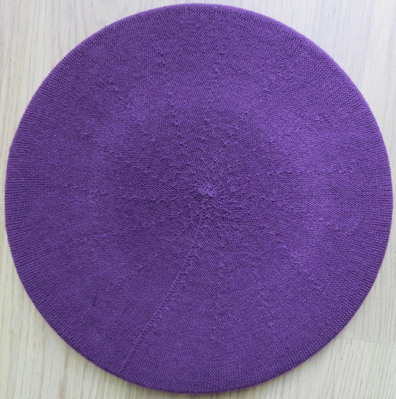 Cotton beret deep purple medium