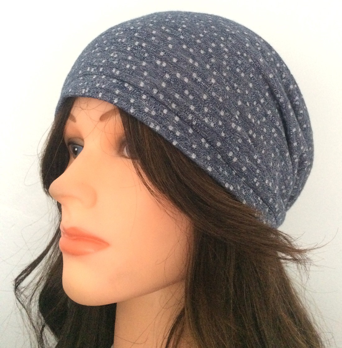 Medium blue dotted pattern summer slouchy