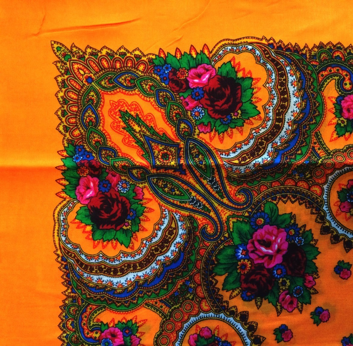 Bright orange vintage tichel with paisley pattern