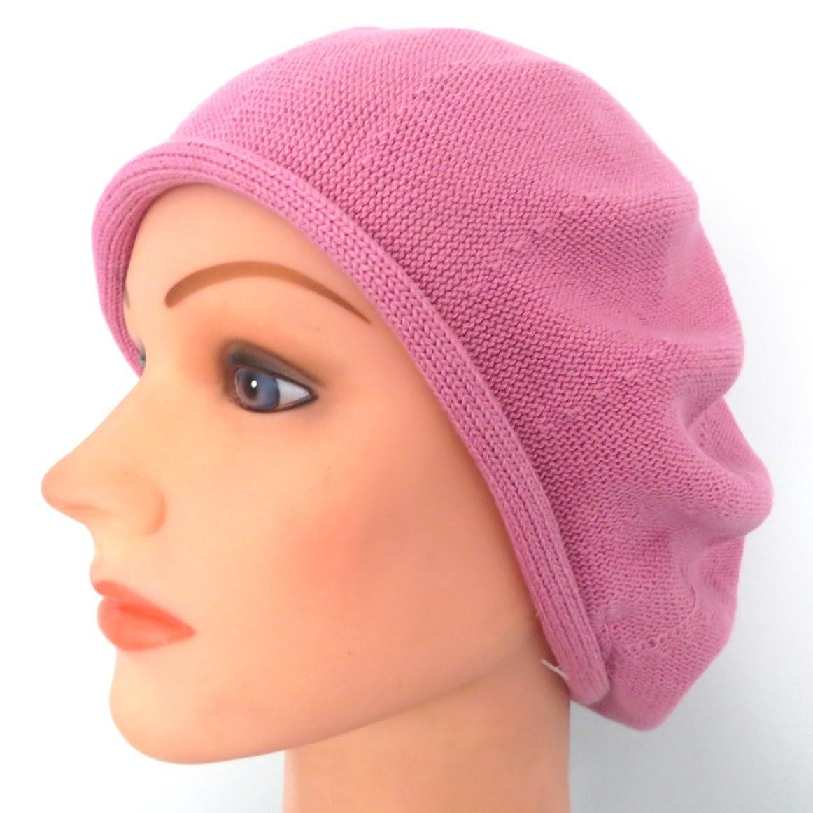 Medium dusty pink cotton beret