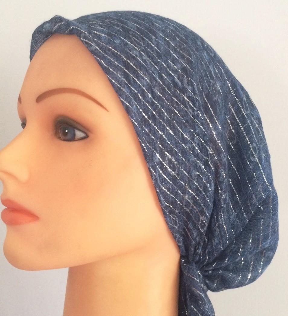 Dark blue with light pattern lurex pre tied tichel