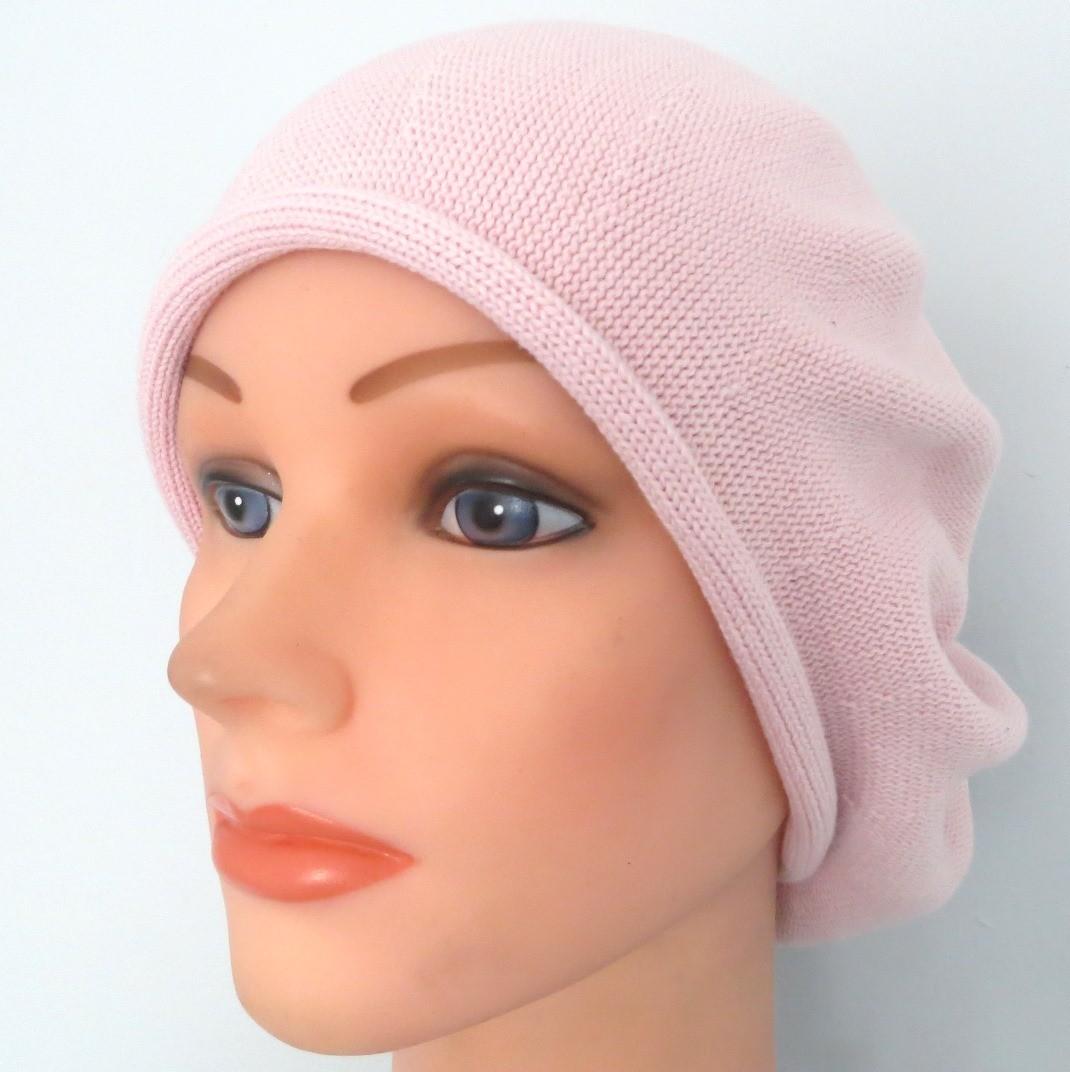 Lighter dusty pink cotton beret