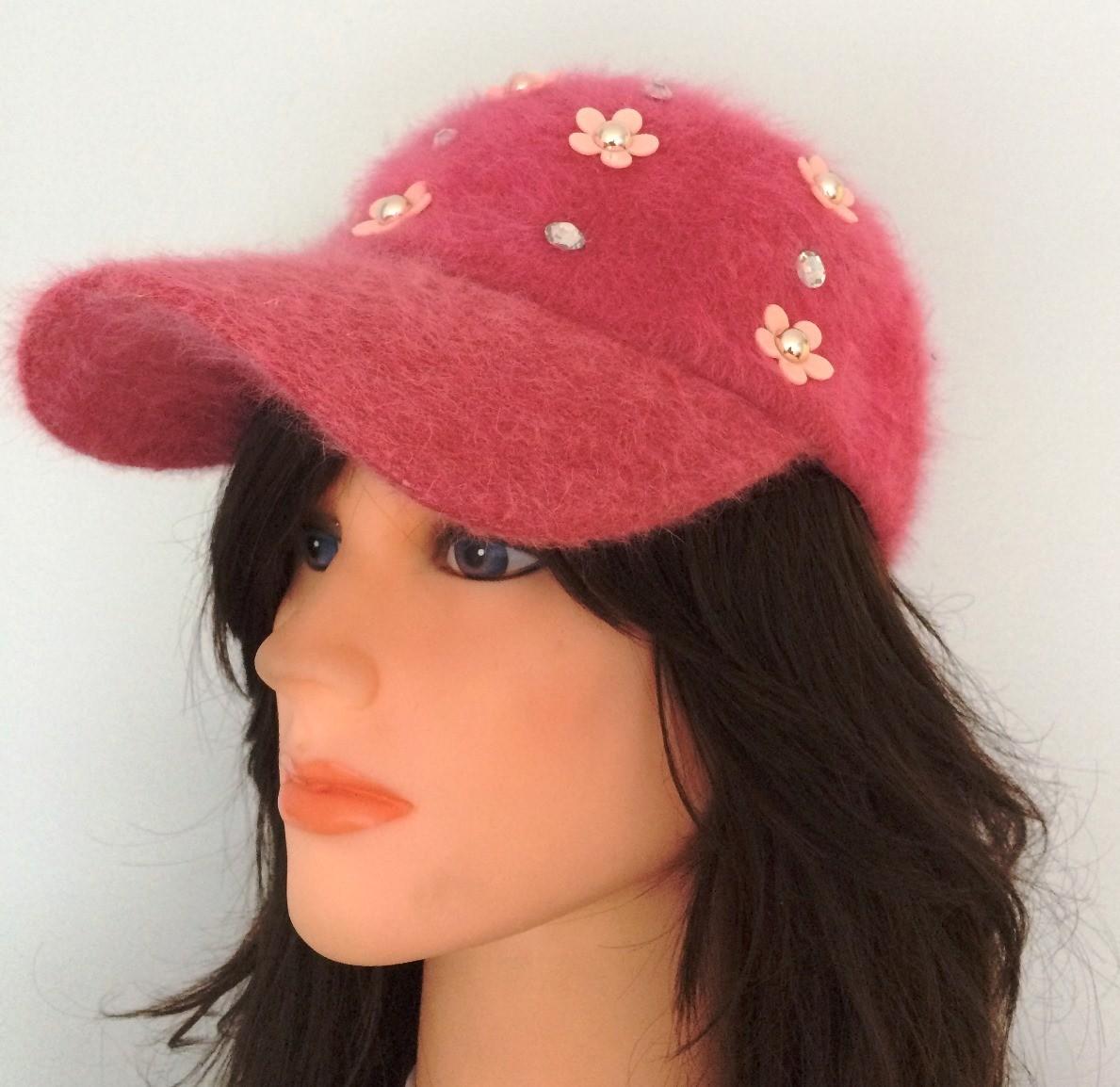 Pink furry bejeweled cap